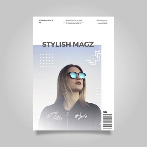 Plantilla de portada de revista elegante plana moderna limpia