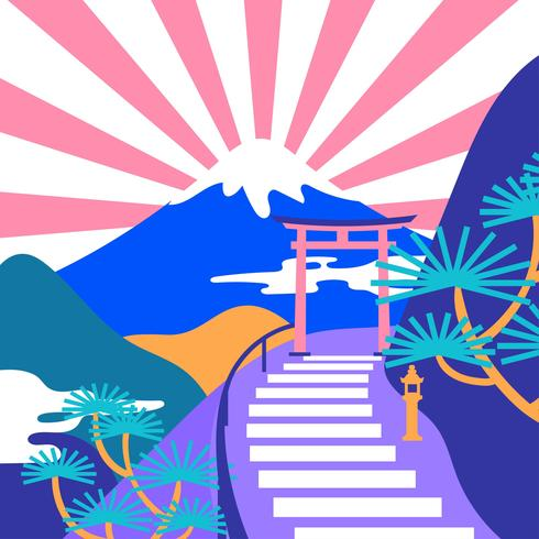 Japanesse Mountain Landscape Pop Color Vector