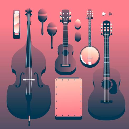 Acoustic Musical Instruments Knolling vector