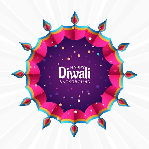 Hermosa tarjeta de felicitación del festival diwali colorida decorativa espalda
