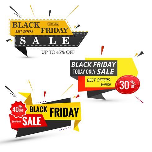 Beautiful black friday sale banner set design vector