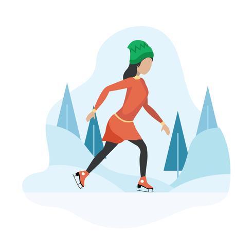 Illustrazione di pattinaggio su ghiaccio
