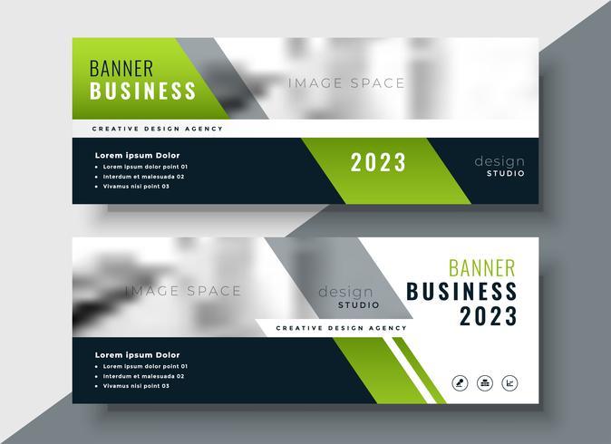 bannière d'affaires géométrique vert avec espace image