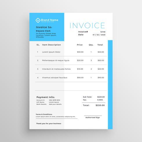 factura de negocios diseño de plantilla mínima azul