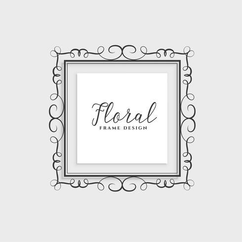 diseño del marco floral sobre fondo gris