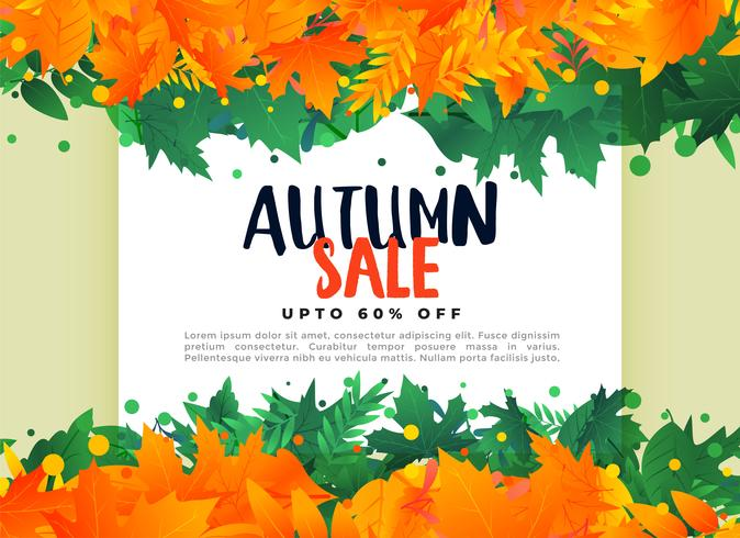 fondo astratto dell'insegna di vendita delle foglie di autunno
