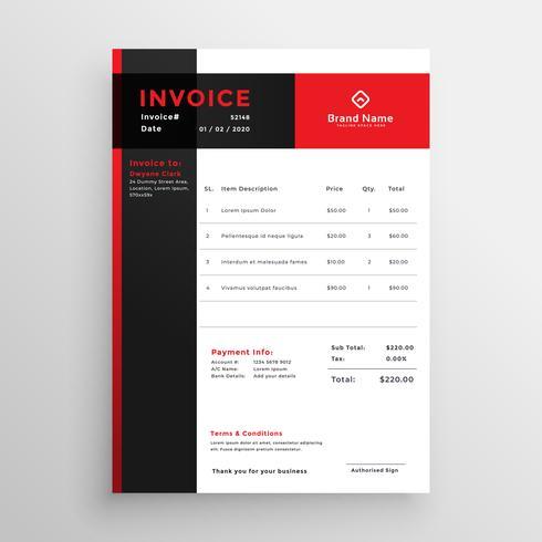 Diseño de plantilla de factura roja para tu negocio.