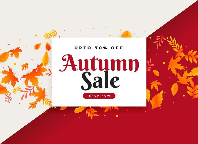 vendita autunnale e banner promozionale con foglie