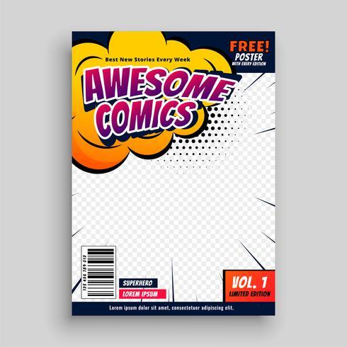 plantilla de diseño de página de portada de cómic impresionante