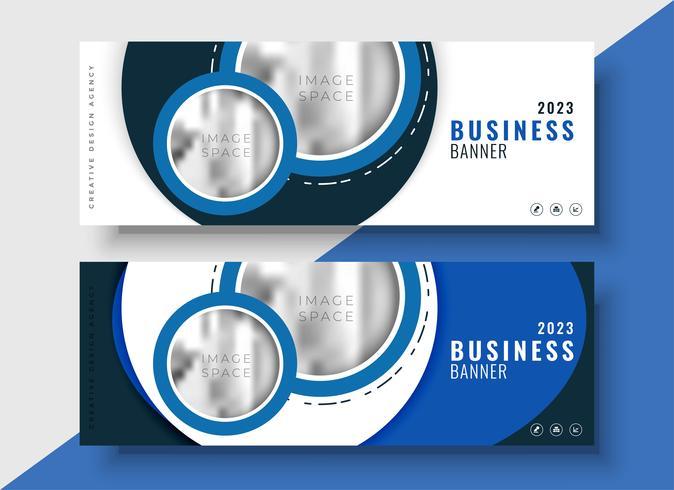 Moderno banner de negocios azul para tu marca.