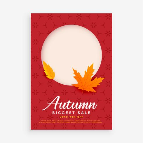 Diseño de folleto de venta de otoño con espacio para imagen o texto