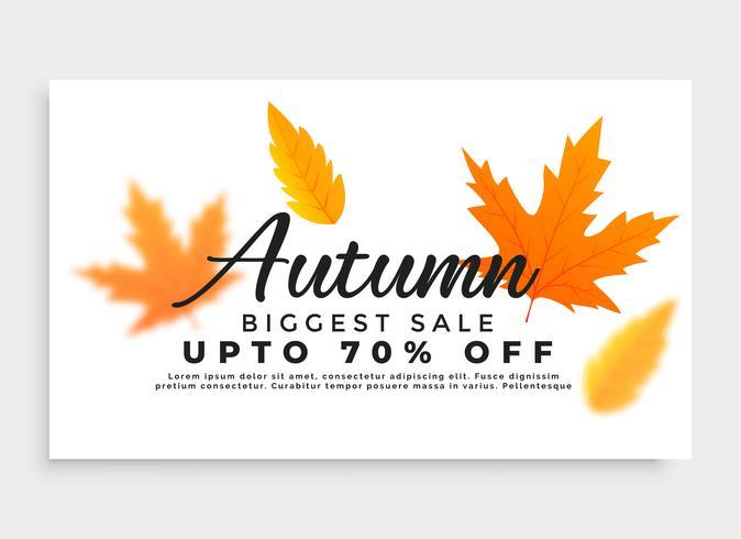 Banner de venta de otoño con hojas de temporada