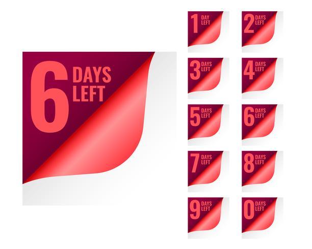 número de días que quedan etiquetas en el estilo de página enrollado