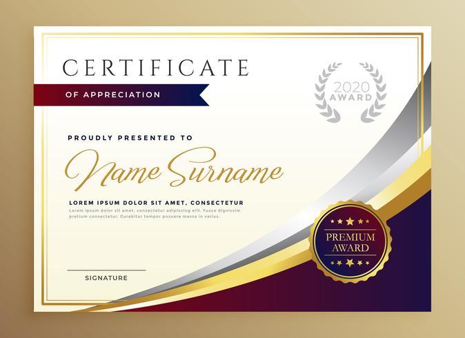 design elegante modello di certificato in tema d'oro