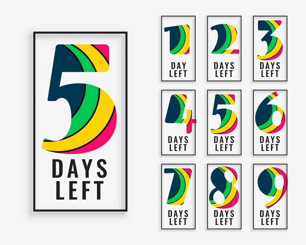 aantal resterende dagen in kleurrijke stijl