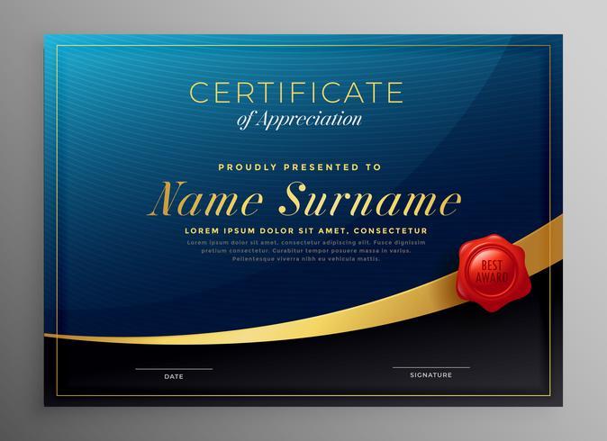 diseño de plantilla de certificado azul oscuro