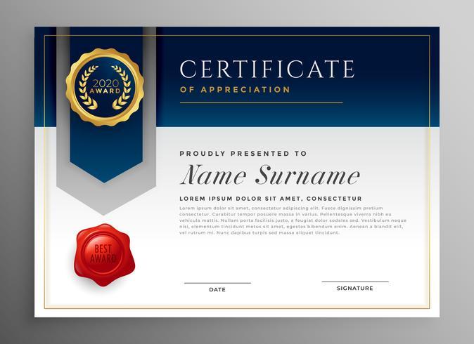 diseño de plantilla de certificado profesional azul