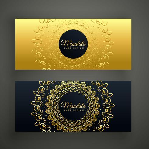 design de banners dourados de mandala premium