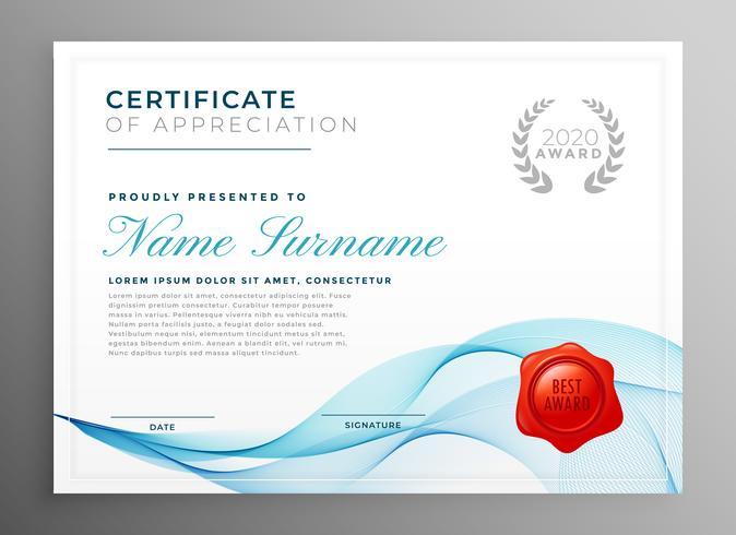 elegante certificato blu del modello di apprezzamento