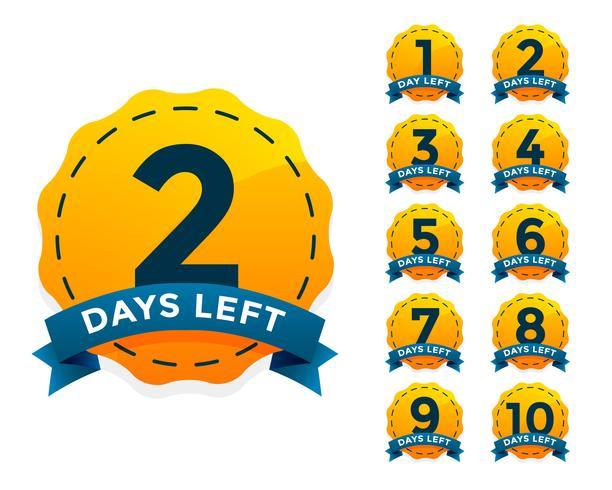 insignia amarilla fijada para el número de días restantes