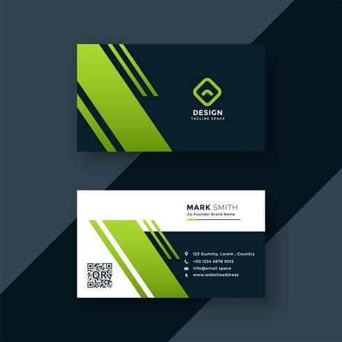 diseño profesional de la tarjeta de visita verde oscuro