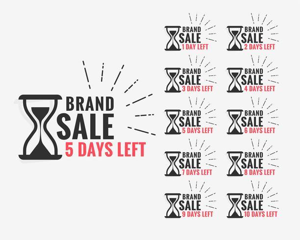 etichetta di vendita che mostra il numero di giorni rimanenti