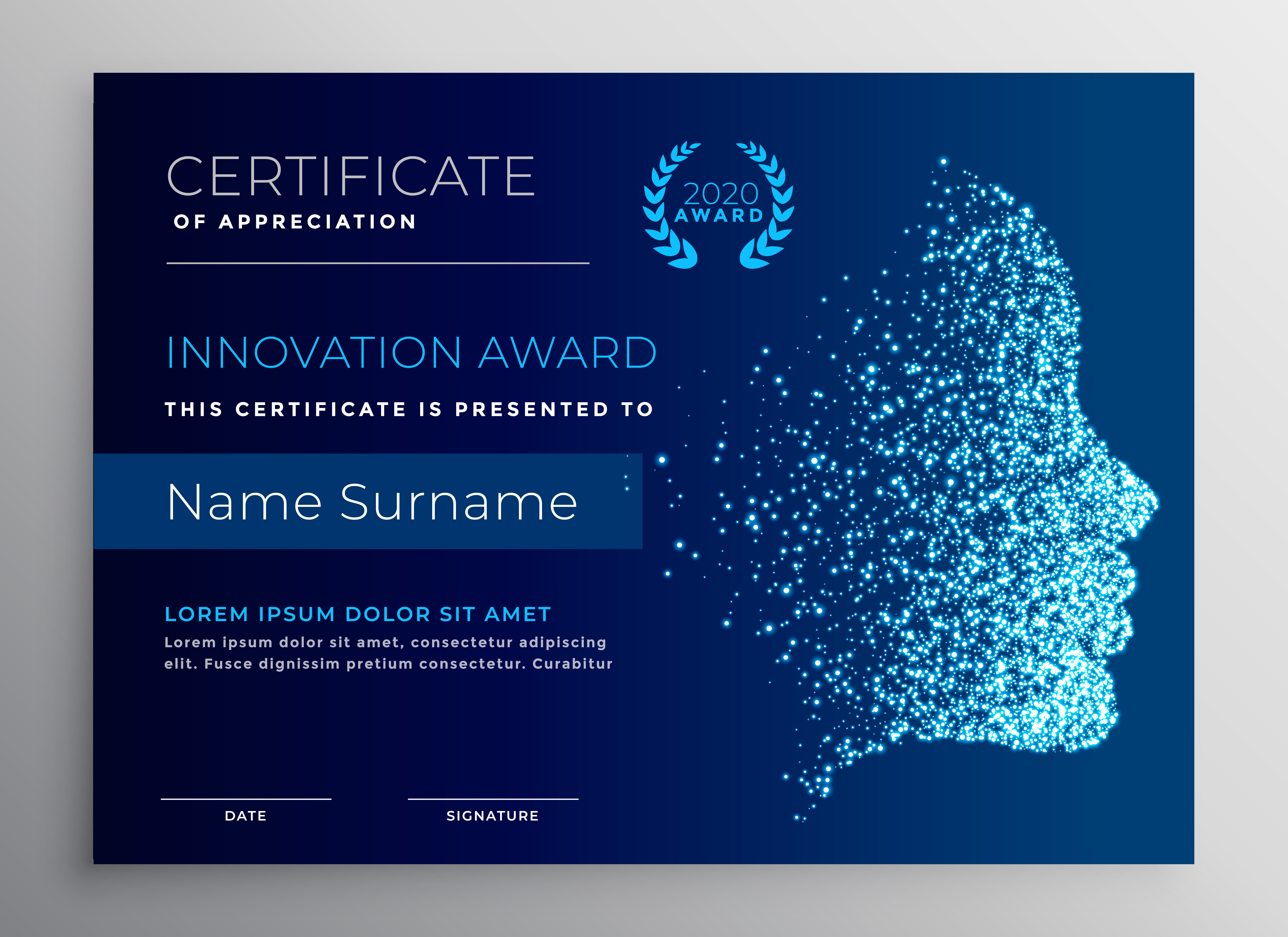 innovation award certificate design with particle face