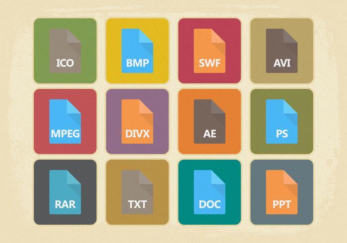 Collection d'icônes de type de fichier de style vintage