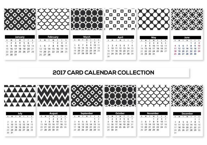 Preto e Branco Mini 2017 Calendário Cartões