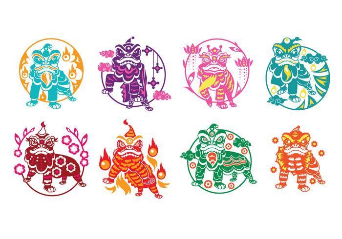 Illustration du lion chinois dansant