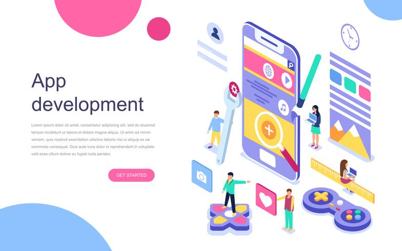 Concepto isométrico de diseño plano moderno de desarrollo de aplicaciones para banner y sitio web. Plantilla de página de aterrizaje. Aplicación móvil, grupo de usuarios y desarrolladores. Ilustracion vectorial