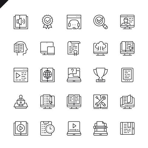 Dunne lijn e-learning, online onderwijs elementen pictogrammen instellen voor website en mobiele site en apps. Overzicht iconen ontwerp. 48x48 Pixel Perfect. Lineair pictogrampakket. Vector illustratie.
