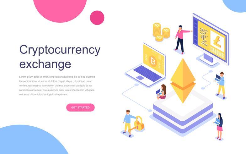 Isometrisches Konzept des modernen flachen Designs des Cryptocurrency Exchange für Fahne und Website. Zielseitenvorlage. Virtuelles Bargeldgeschäft, Blockchain-Konzept der Kryptowährung. Vektor-illustration