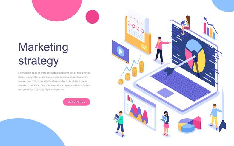 Concepto isométrico moderno diseño plano de estrategia de marketing para banner y sitio web Plantilla de página de aterrizaje. Análisis de negocio, estrategia de contenidos y concepto de gestión. Ilustracion vectorial vector