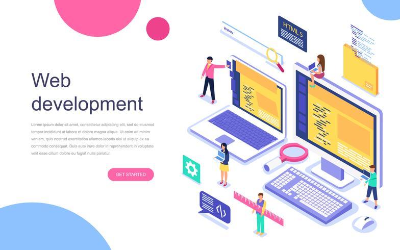Concepto isométrico de diseño plano moderno de desarrollo web para banner y sitio web. Plantilla de página de aterrizaje. Proyecto de trabajo en equipo, agencia web y proyecto de nueva empresa. Ilustracion vectorial