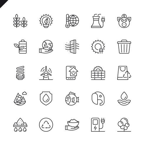 Iconos de ecología de líneas finas configurados para sitio web, sitio móvil y aplicaciones. Esquema de los iconos de diseño. 48x48 Pixel Perfect. Pack de pictogramas lineales. Ilustracion vectorial