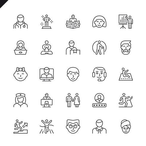 Ícones de pessoas de linha fina para site, site móvel e apps. Design de ícones de contorno. 48x48 Pixel Perfeito. Pacote de pictograma linear. Ilustração vetorial.