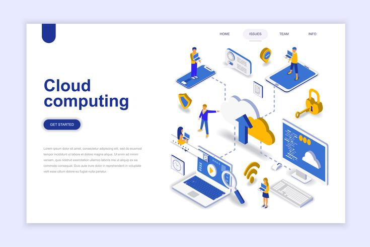 Banner web isometrica cloud computing