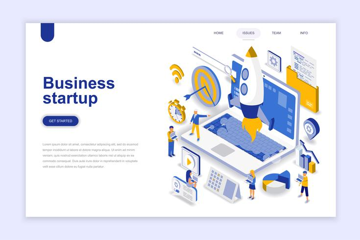 Isometric Business Startup Web Banner