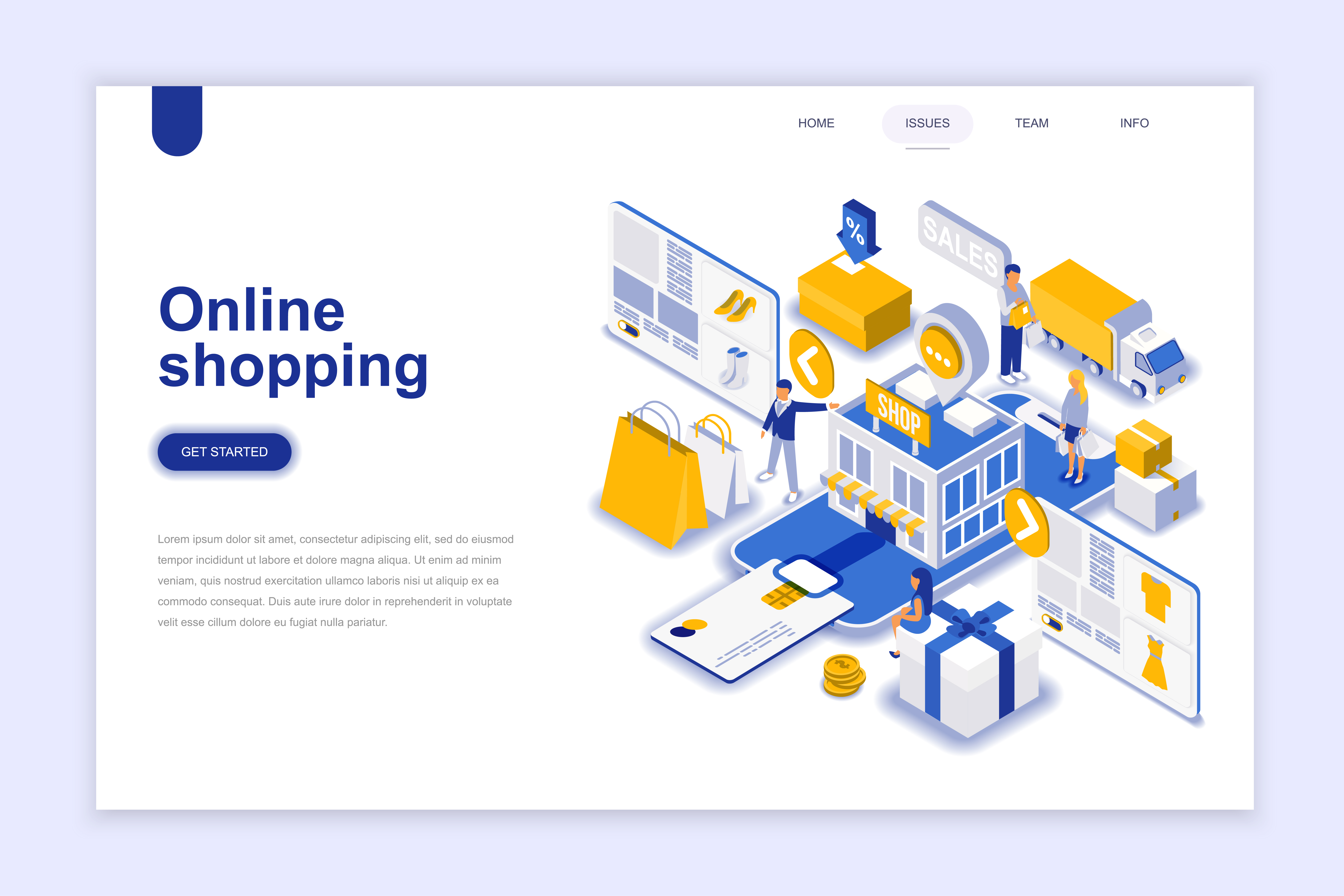 Isometric online shopping web banner download free for Design online shop