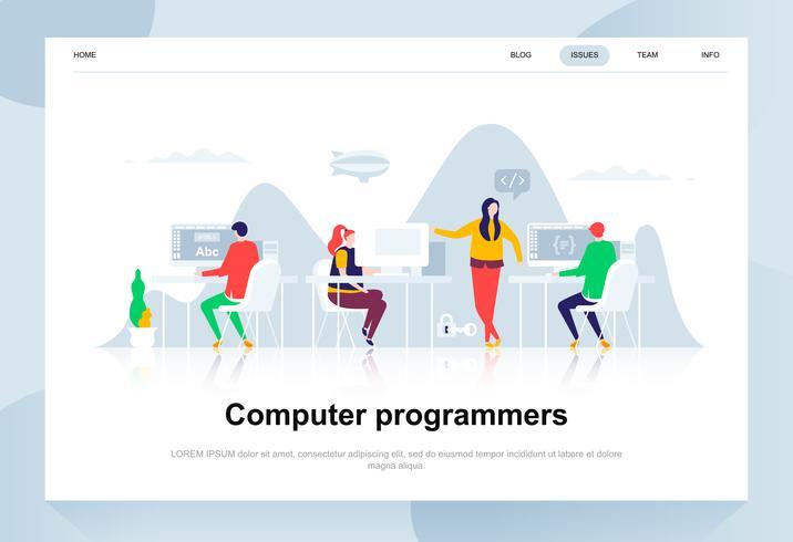 Modernes flaches Designkonzept der Computerprogrammierer. Softwareentwicklung und Personenkonzept. Zielseitenvorlage. Flache Begriffsvektorillustration für Webseite, Website und bewegliche Website.