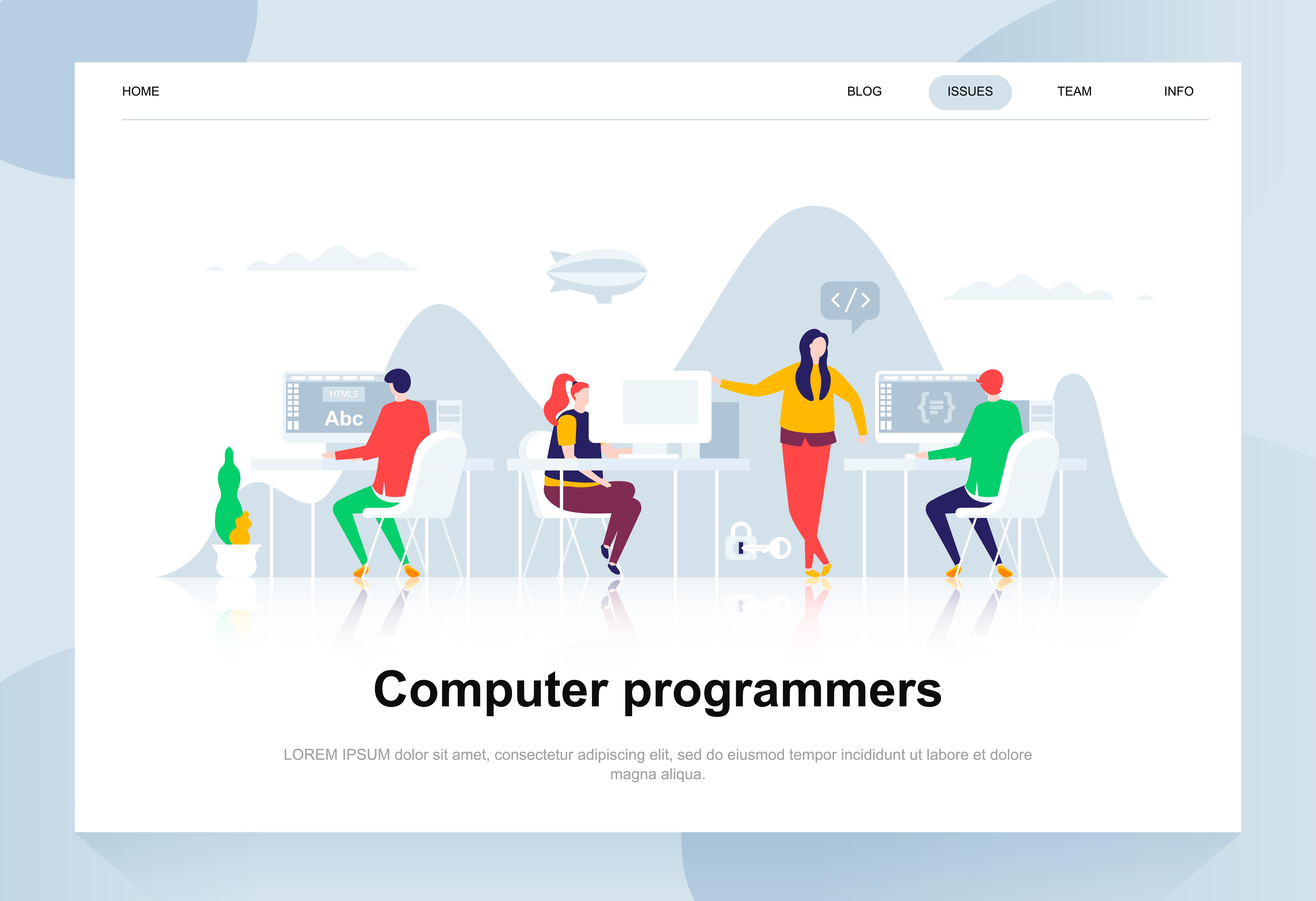 Vector Illustration Web Designs: Flat Design Computer Programmers Web Banner