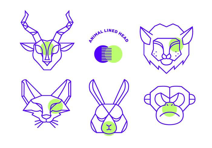 Forma geométrica Simple línea de Vector de cabeza de animales