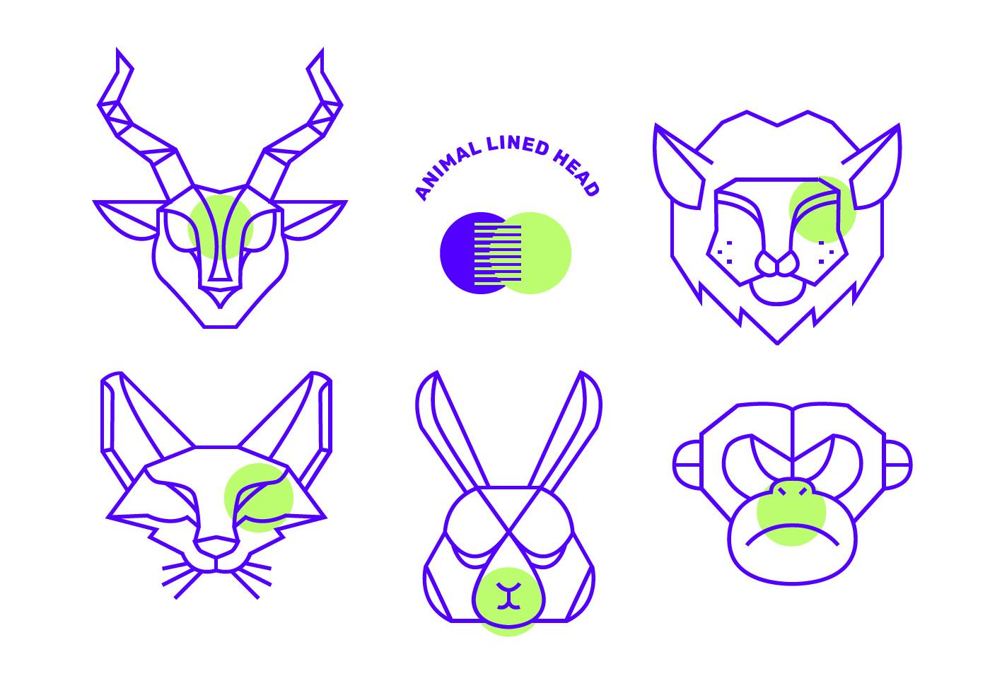 Geometric Simple Shape Animals Head Vector Line