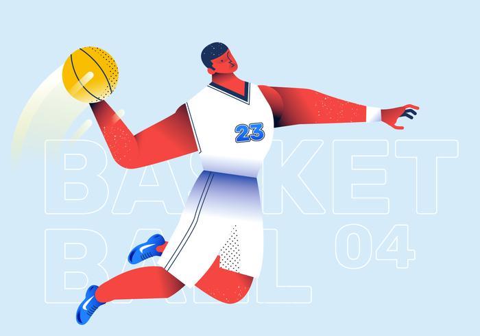 Illustrazione di vettore di successo di colpo del giocatore di pallacanestro