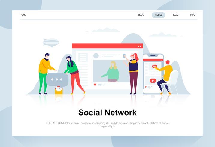 Concetto di design piatto moderno di rete sociale. Comunicazione e concetto di persone. Modello di pagina di destinazione. Illustrazione vettoriale concettuale piatta per pagina web, sito Web e sito Web mobile.