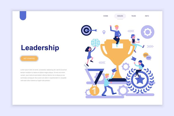 Landing page template of business leadership vector