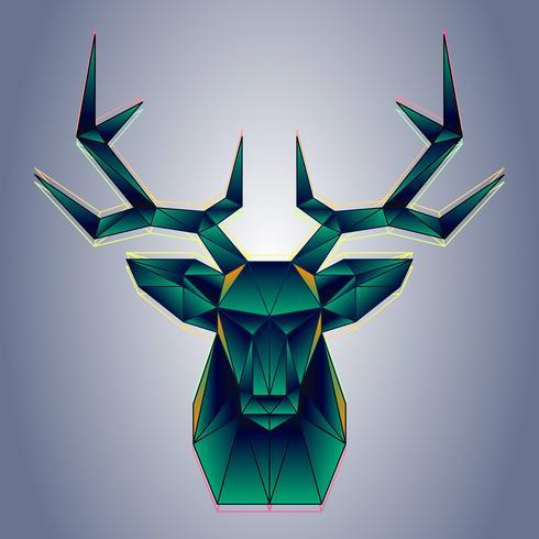 Stylized Polygonal Deer Head Vector Geometrisk Illustration