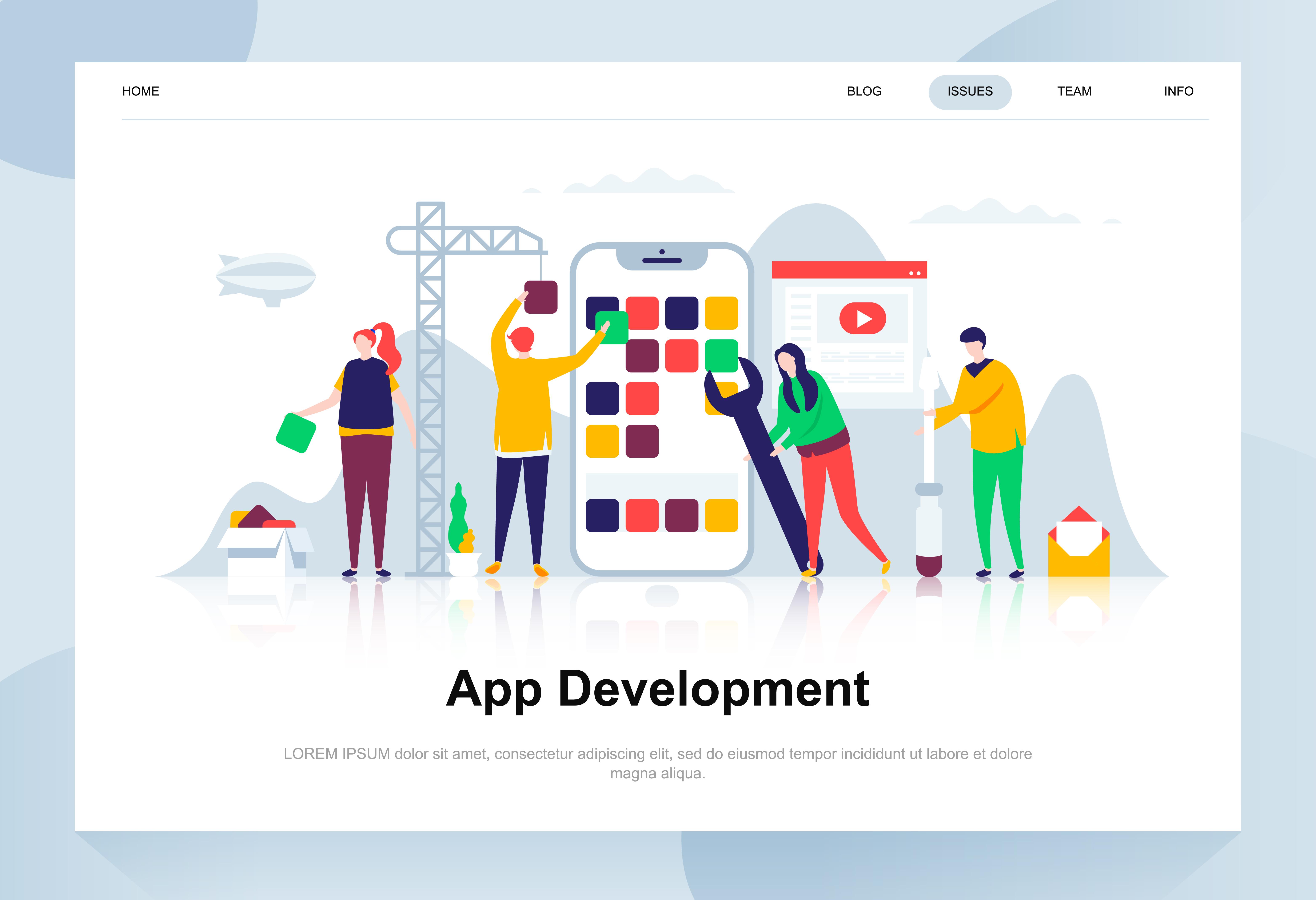 Vector Illustration Web Designs: App Development Modern Flat Design Concept