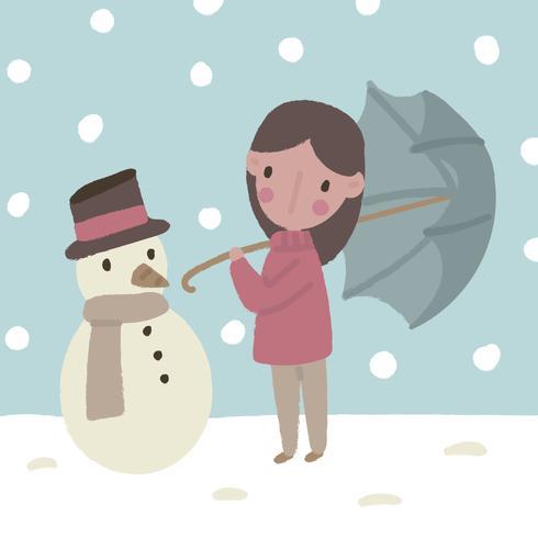 Linda garota no meio da neve